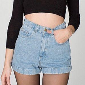 American Apparel • high waist jean shorts